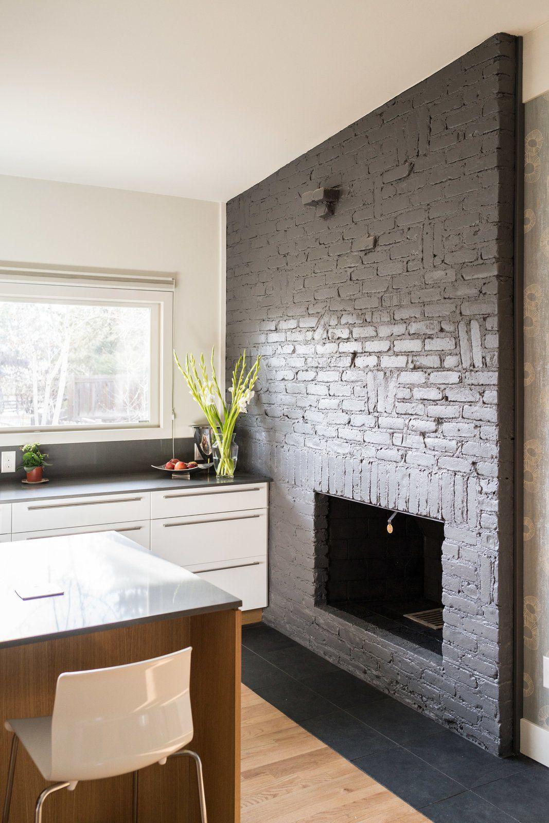 Kitchen Fireplace Original Brick Was Damaged So It Was Painted