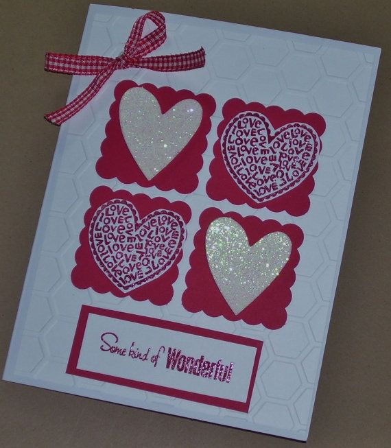 Four Hearts Valentine's Day Card Handmade Greeting by Sassadoodle