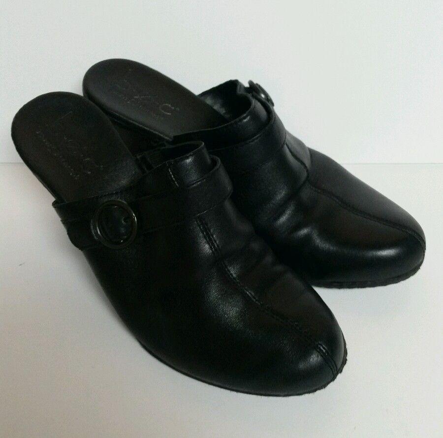 c5151340087 BOC Born Black Slip On Heels Shoes Clogs Heel Women s 7 Buckle Mule