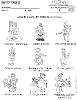 FICHA 1,2,3,4 y 5 PARA APRENDER LAS PROFESIONES Y COLOREAR
