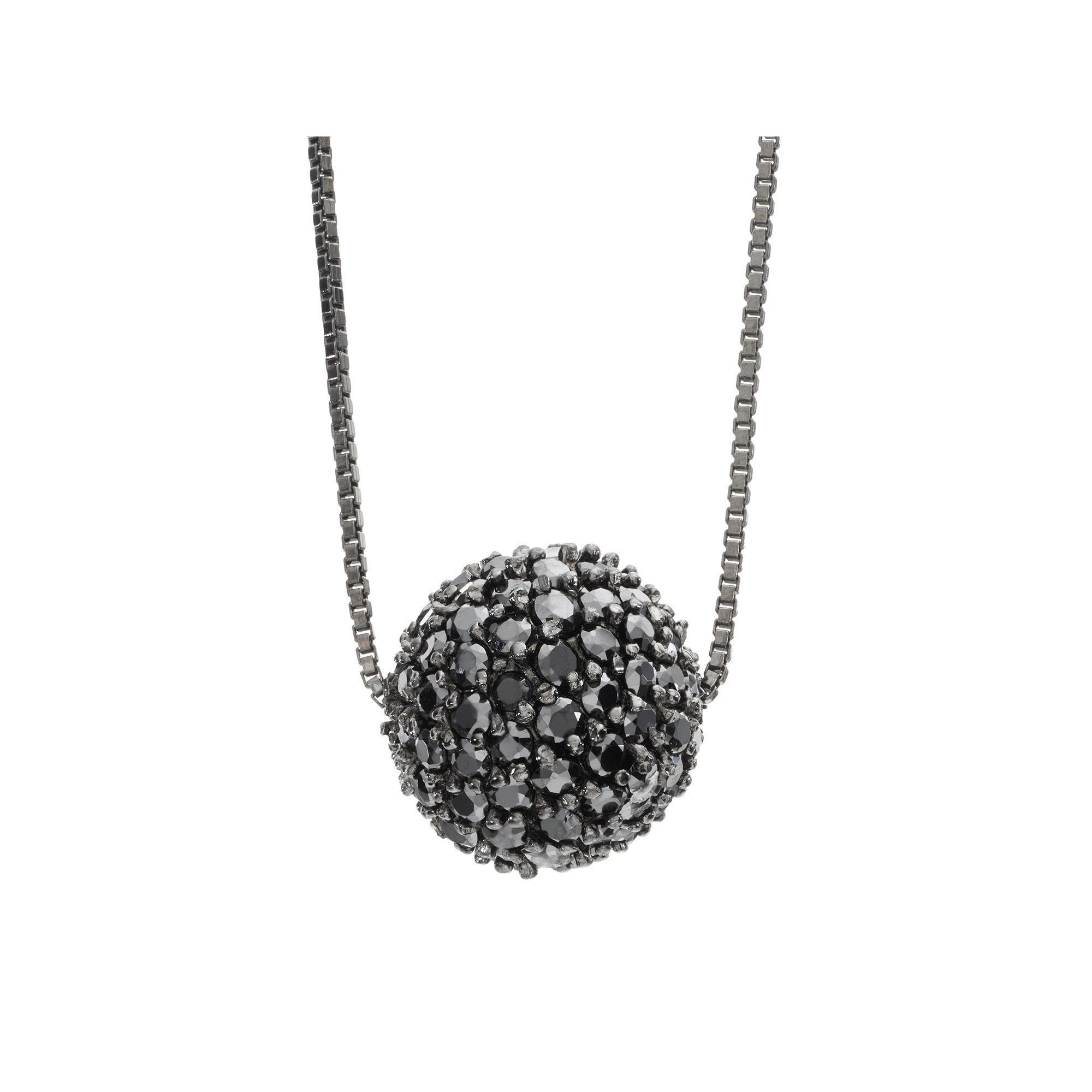 Sophie miller cubic zirconia black rhodium plated sterling silver sophie miller cubic zirconia black rhodium plated sterling silver ball pendant necklace 20 in aloadofball Images