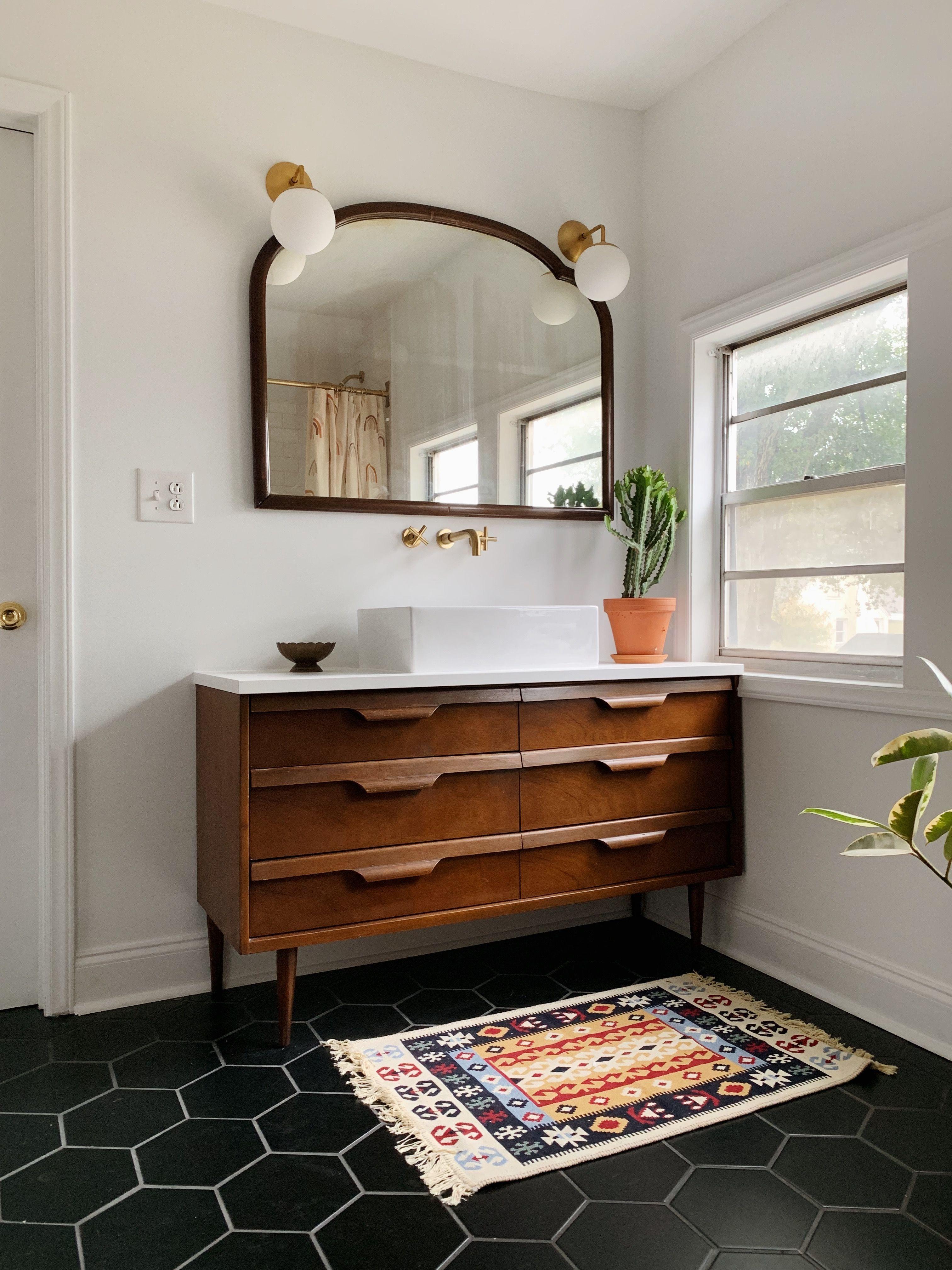 Mid Century Bathroom With A Colorful Modern Flair Mid Century Modern Bathroom Mid Century Bathroom Dresser Vanity Bathroom [ 4032 x 3024 Pixel ]