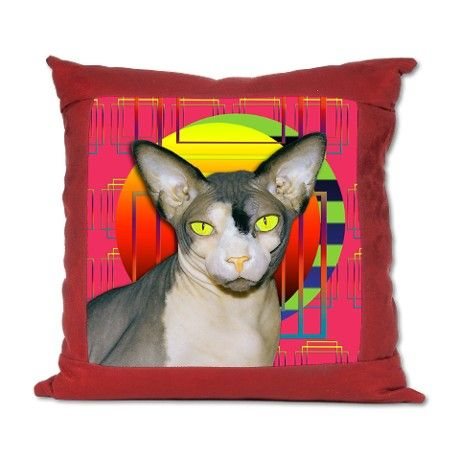 suede pillow vamp sphynx cat pink geometric  sphynx cat