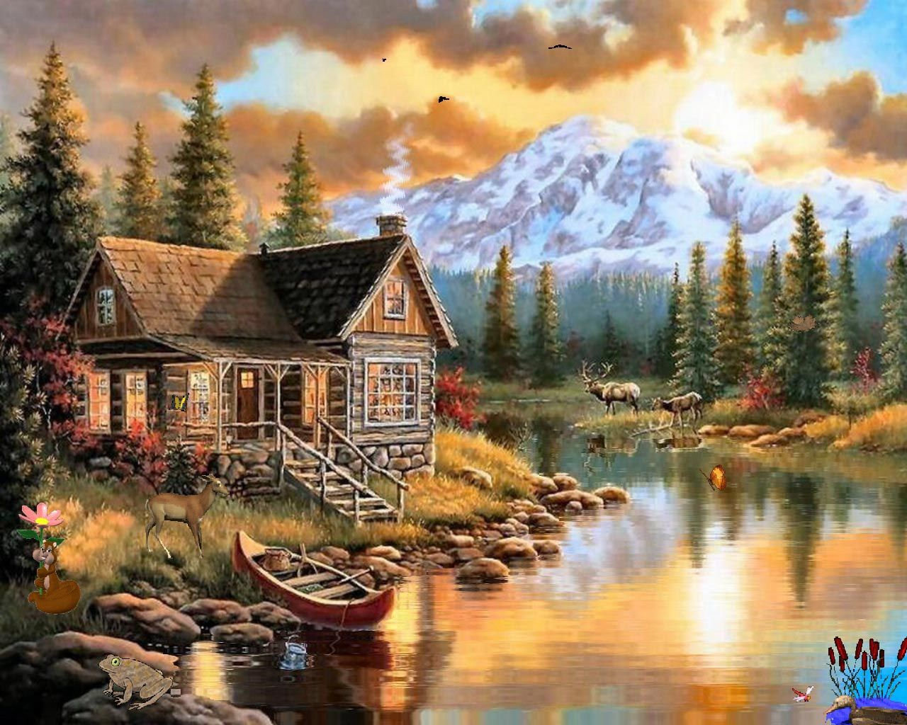 Log cabin in the woods painting - Drawings Nature Pictures Cabin And Deer Wallpapers Syllabus Natural Scenery For Drawing 1280x1024 218751