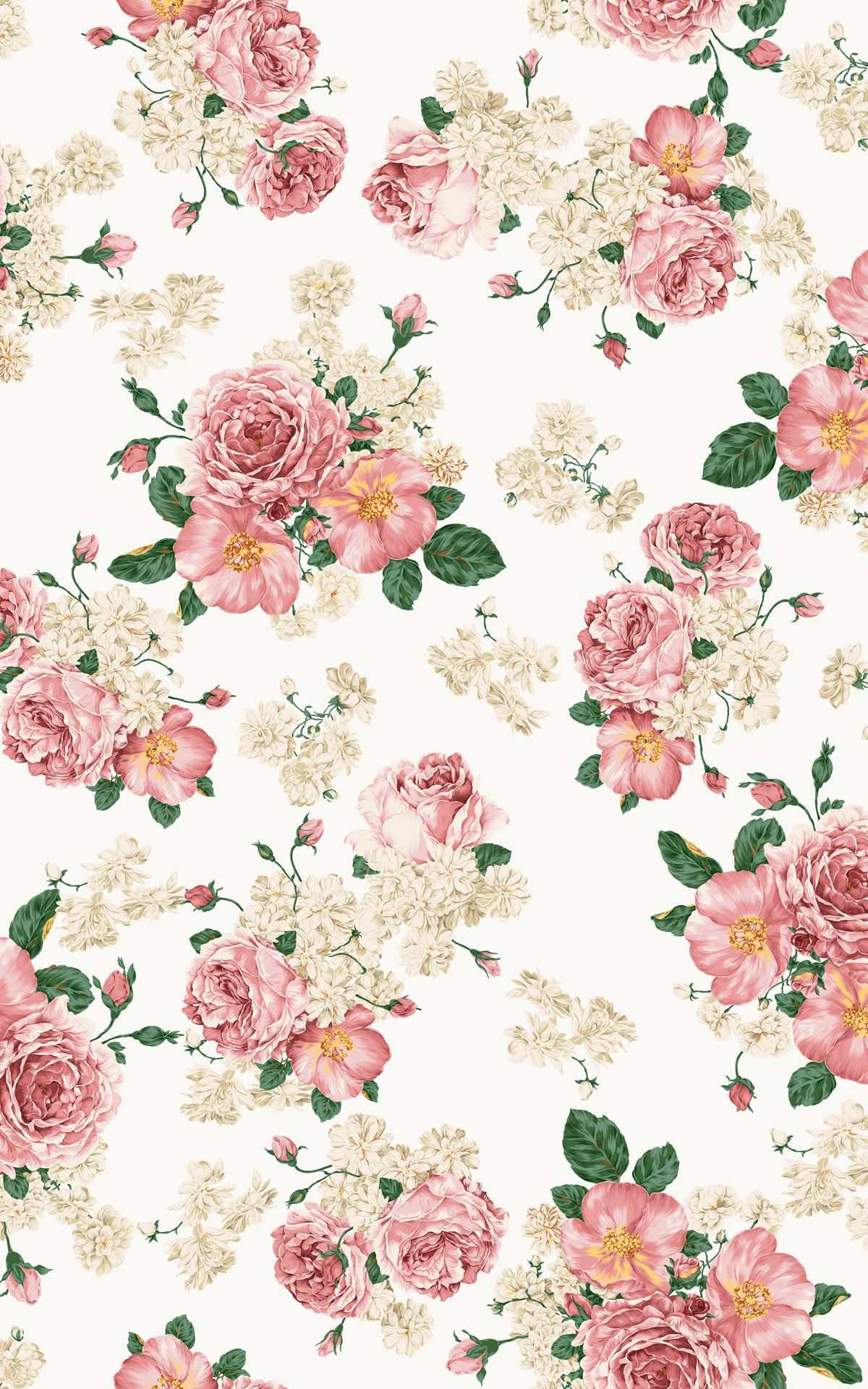Print Rose Flower Pink White Wallpaper Pattern Patterns
