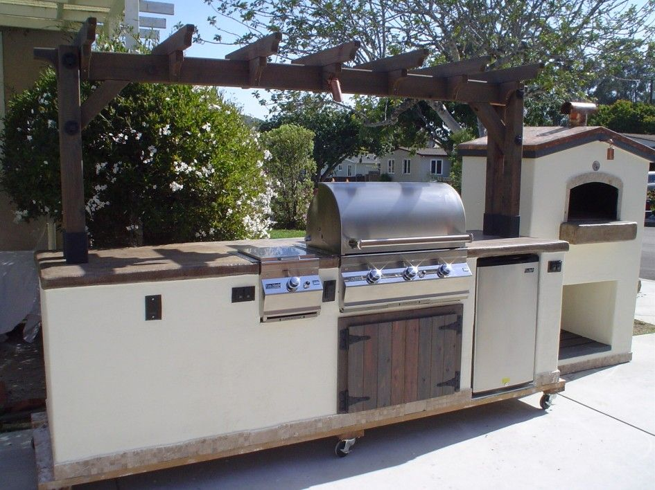 Incomparable Mobile Outdoor Kitchen Islands With Casters And Built In Wooden Kitchen Pergola Also Cou Outdoor