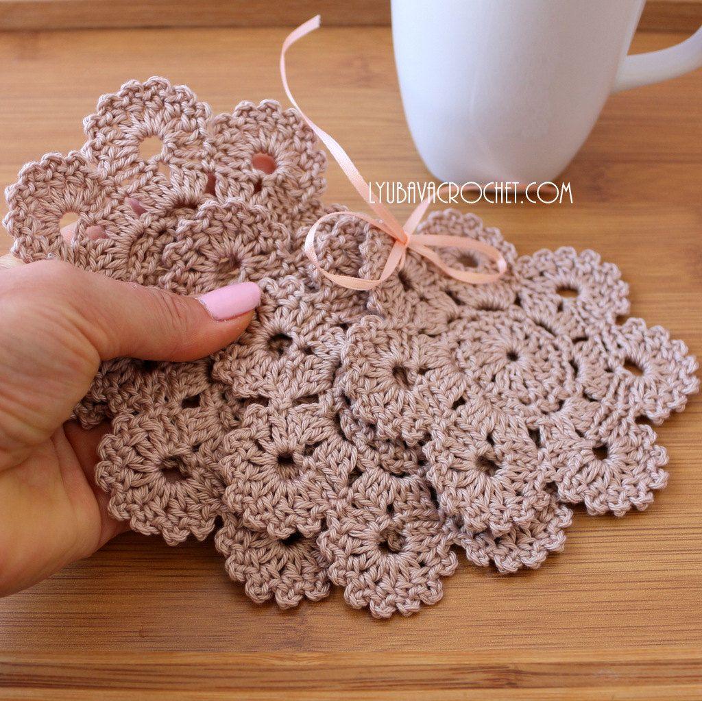 Crochet Coaster PATTERN, Crochet Home Decor Pattern, Flower Coasters ...