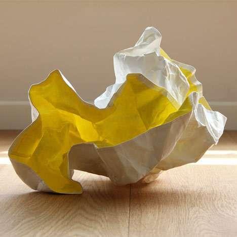 Crumpled Paper Lighting Papela From Meirav Barzilay Crumpled Paper Paper Light Paper Lampshade