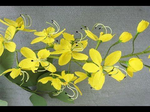 ABC TV | Cómo hacer las flores de papel de la fístula de Cassia del papel de Crepe - YouTube