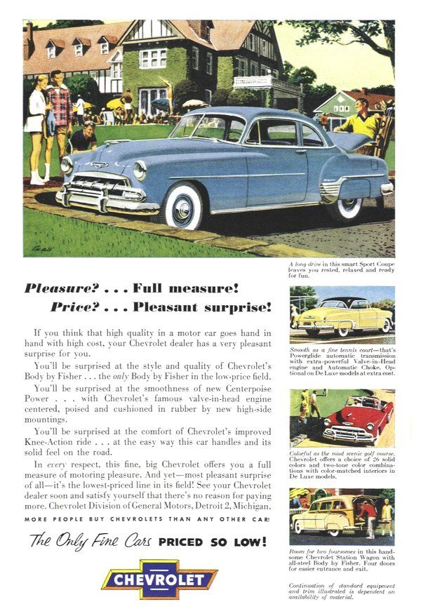 1952 Chevrolet Vintage Cars Automobile Advertising Vintage Cars 1950s