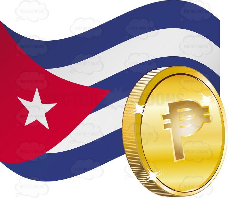 Republic Of Cuba Flag With Cuban Pesos Sign On It Vector