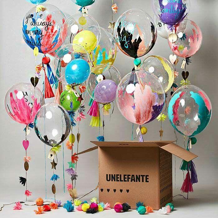 a82c944a0 Globos transparentes y coloridos   Decoración fiesta infantil in ...