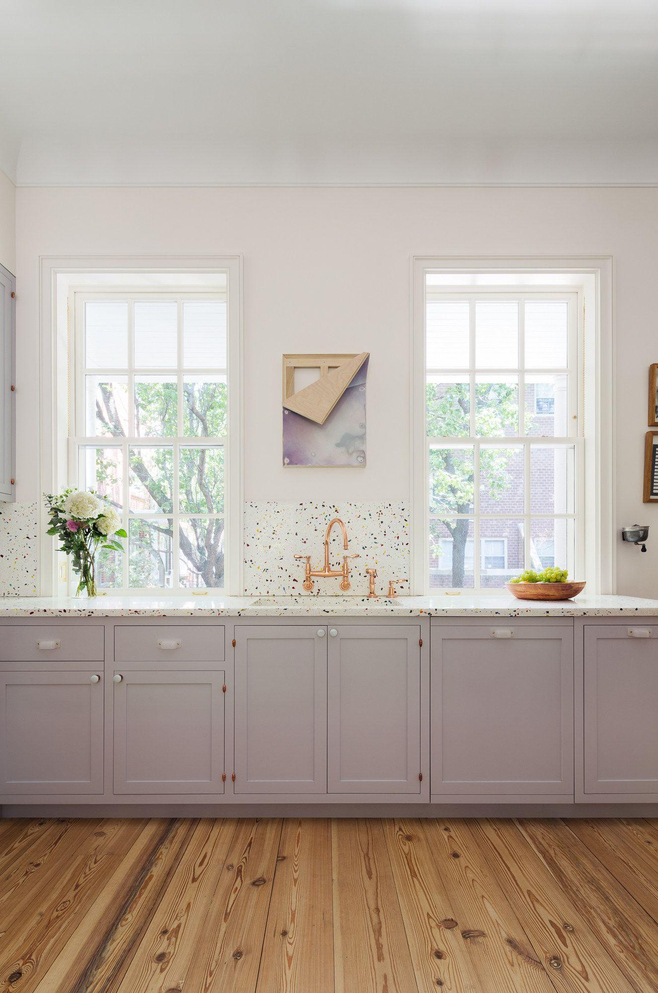 Cast Terrazzo Backsplash In Manhattan Kitchen Remodelista New Kitchen Cabinets Kitchen Remodel Kitchen Cabinet Trends