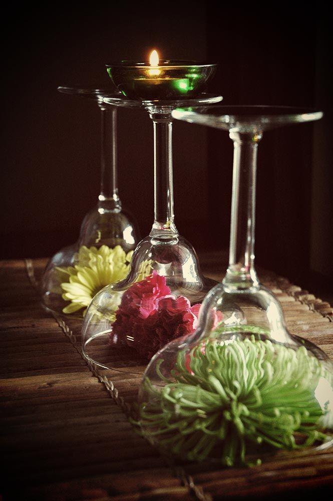 Upside down martini glass centerpiece