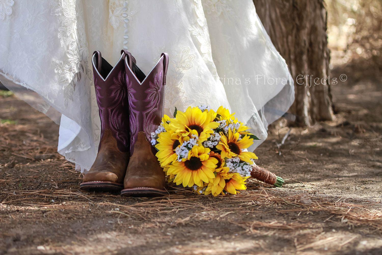 Wedding Bouquet Set / Twine Wrap Sunflower Babies Breath Daisy ...