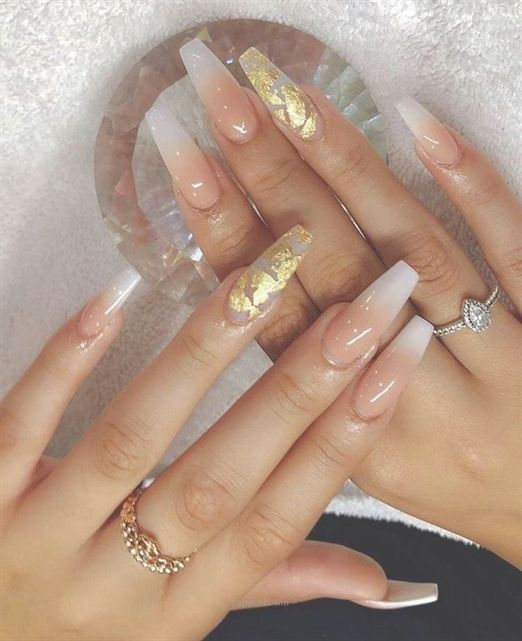 This Nail Art With Gold Flakes Is Gorgeous Ballerina Style Nails Baby Boomers Nails Coffin Nails Designs