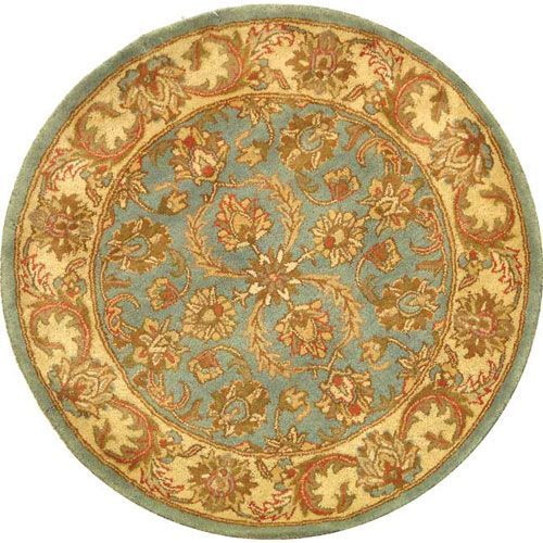 Heritage Blue and Beige Round: 3 Ft. Rug