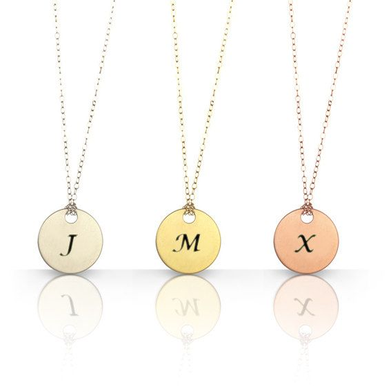 Engraved initial necklace monogram necklace round disk initial engraved initial necklace monogram charm custom 24k by jonjonjewel 4500 aloadofball Images