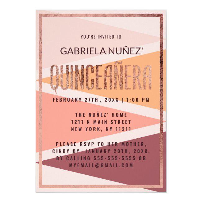 Pink Peach Gold Triangle Geometric Quinceaera Invitation