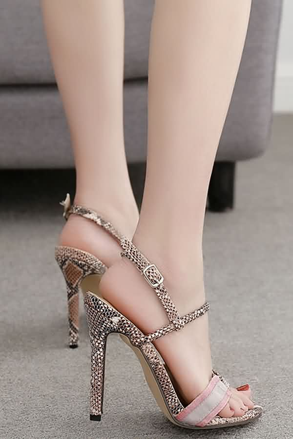 8b149cae9b0dc Women Apricot Snakeskin Strappy Open Toe Stiletto High Heel Sandals - 7.5