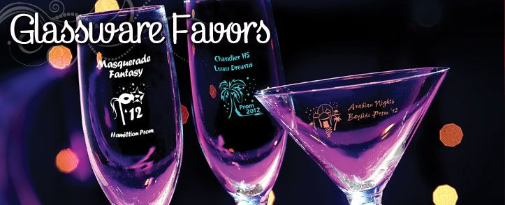 Imprint glassware favors with your event's details.