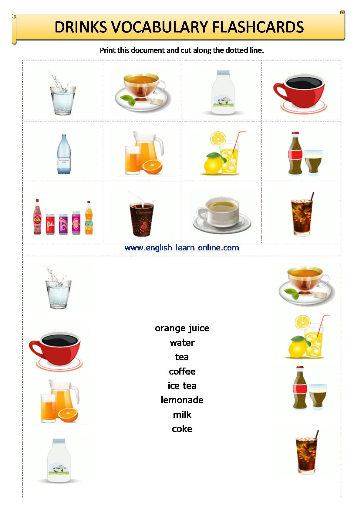 Drinks Vocabulary Flashcards Worksheet In