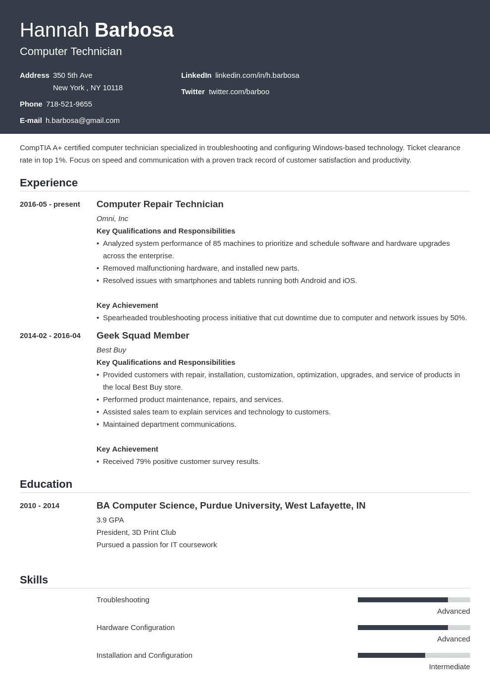 computer technician resume example template influx in 2020