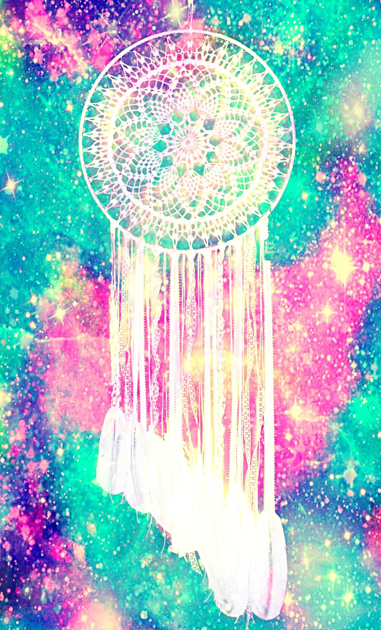 Neon Glow Dreamcatcher Galaxy Wallpaper