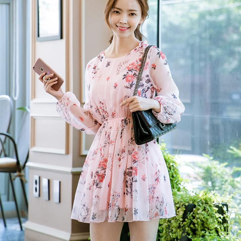 fe0a20d36fd4f Korean summer pink long-sleeved round neck chiffon dress SD00517 ...