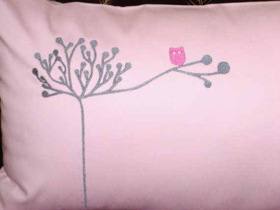 Owl in Tree Pillow Cover Pink Cushion  Owl Decor Throw Pillow on Etsy, $26.00