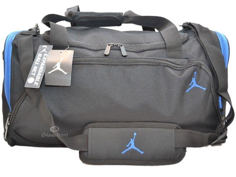 Nike Air Jordan Duffle Gym Bag Basketball Black Blue Duffel New Large Mens Boys