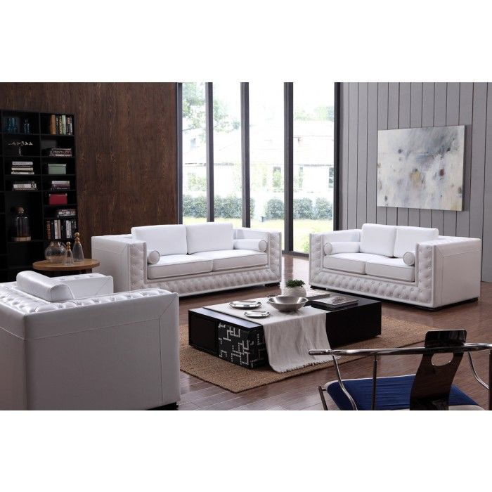 divani casa dublin modern white leather sofa set w buttons rh pinterest com