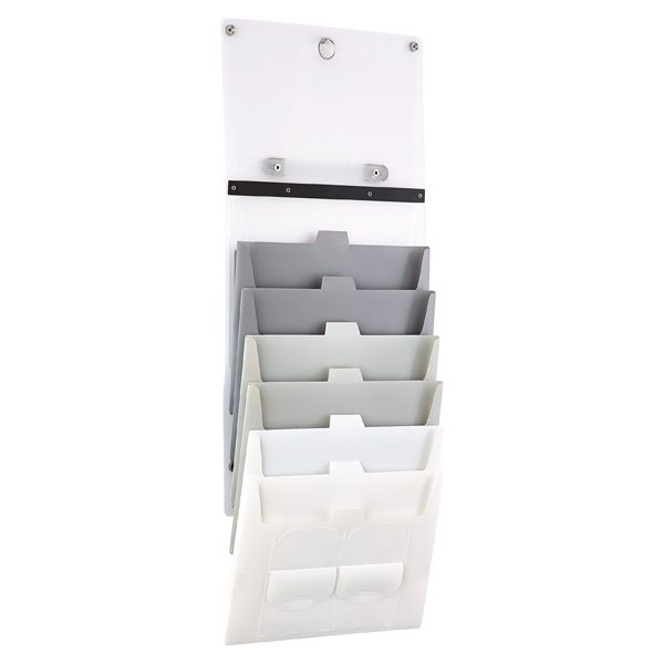 Grey Cascading 6 Pocket Letter File Wall Organizer The Container Store Wall Organization Office Organization At Work Work Space Organization