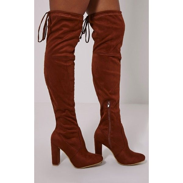 Lorda Tan Faux Suede Over The Knee Boots-3 ($50) ❤ liked on ...