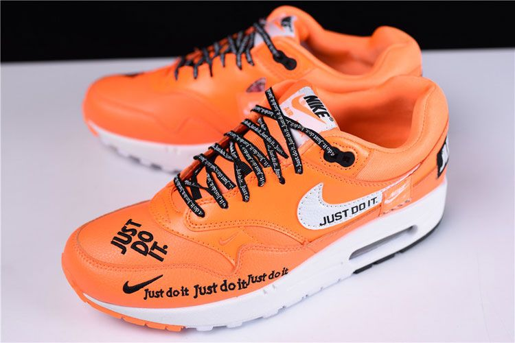 d3b3653daf45 Nike Air Max 1 Just Do It sneaker men and women running shoes orange white