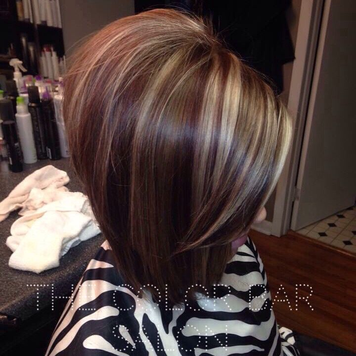 Long Bob Red Lowlights Red And Blonde Hair Red And