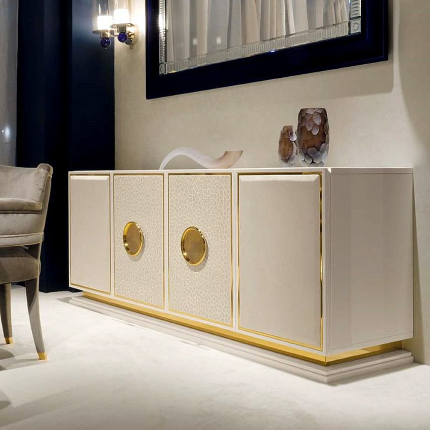 Splendorous Leather Gold Sideboard Leather Sideboard Dining