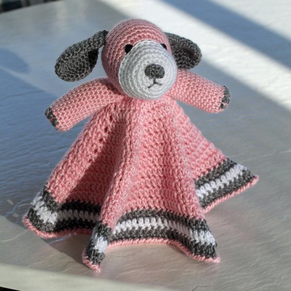 Crochet Puppy Dog Lovey Security Blanket •Material: Softest Acrylic ...