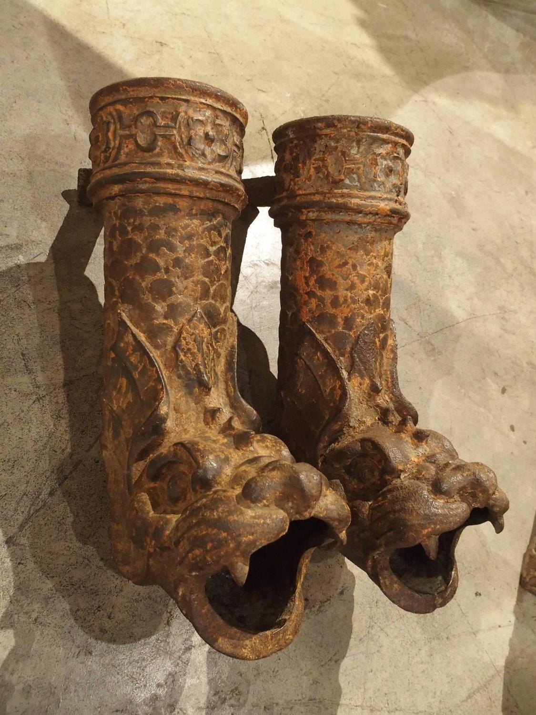 Rare Pair Of Antique Iron Gutter Spouts From Bordeaux France 1stdibs Com Antique Iron Antiques Gutters