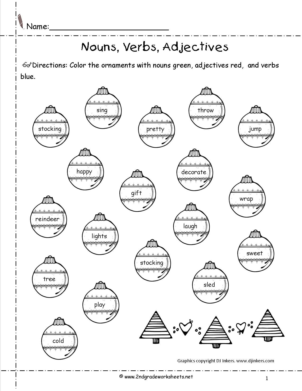 Noun Verb Adjective Worksheet