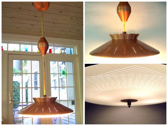 Mid Century Pulley Pendant Lamp Adjustable By LizzieTishVintage Dining Room