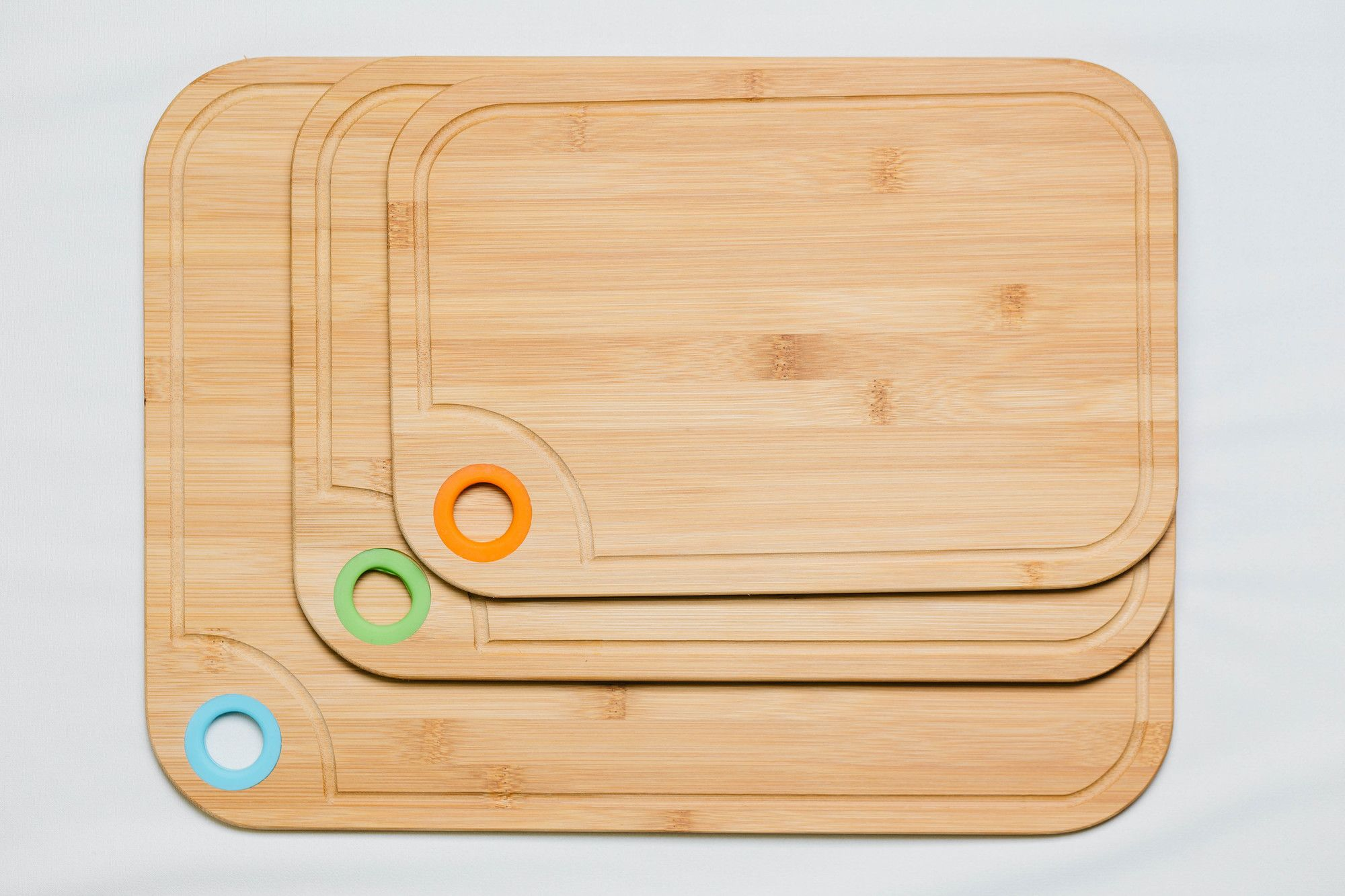 3 Piece Bamboo Cutting Board Set With Silicone Ring Cutting Boards