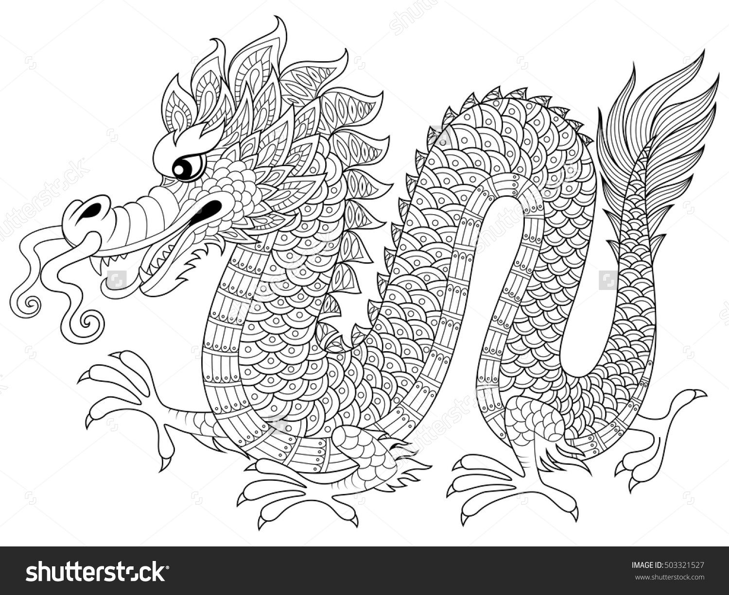 chinese dragon in zentangle style antistress coloring page