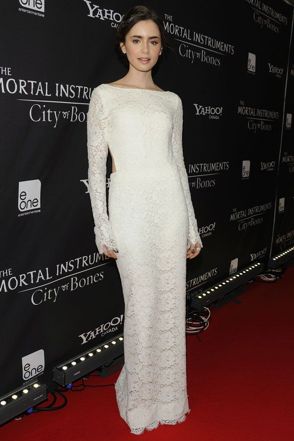 Lily Collins in Houghton at the Mortal Instruments: City of Bones Toronto premiere on August 15, 2013 #HauteCouture #RedCarpet