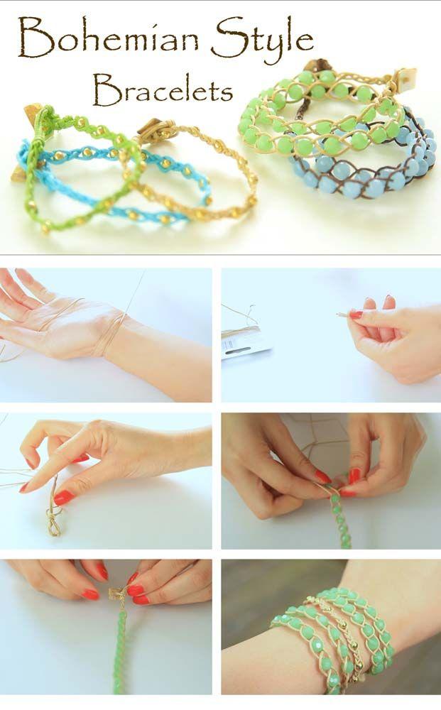 DIY Bohemian Style Bracelts Diy Crafts Craft Ideas Easy Crafty Kids Jewelry Bracelet