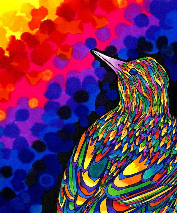 Airain bird rainbow psych d lique color trippy oiseau - Dessin colore ...