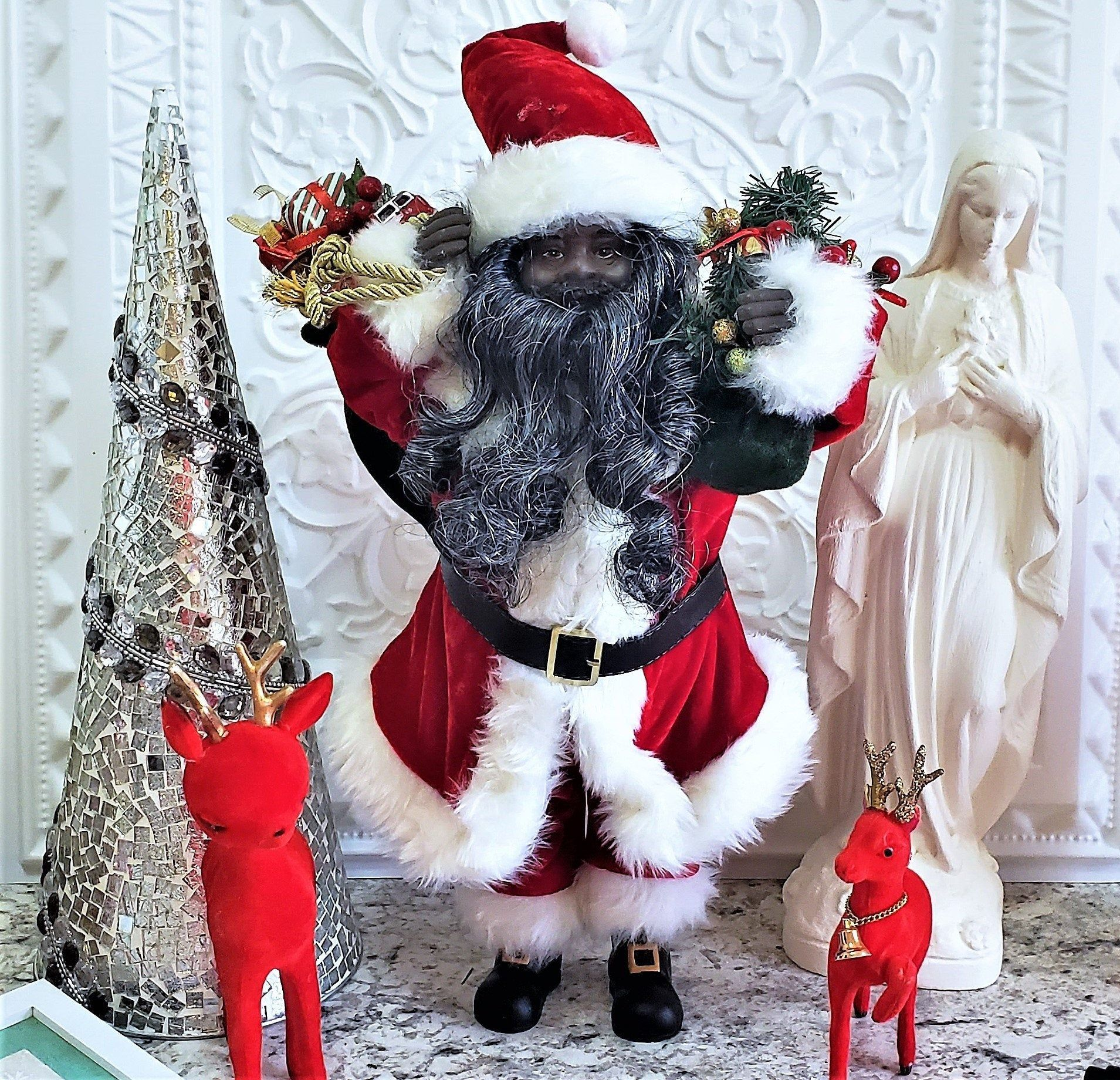 Large Faux Fur Black Santa Claus Christmas Figure Doll Toy Bag 17 5 Little Christmas Trees Christmas Dolls Christmas Snow Globes