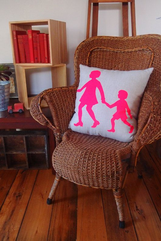 Cushion  Contemporary fluro pink print on natural by IvyandLil, $89.00