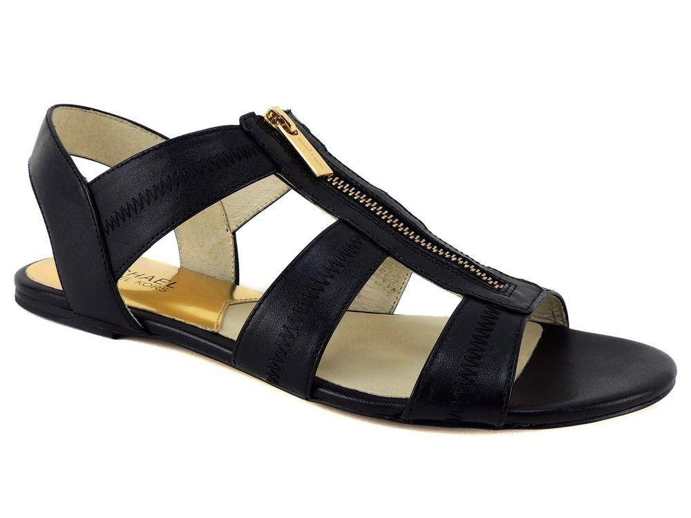 Berkley Flat Sandals Black Leather Size