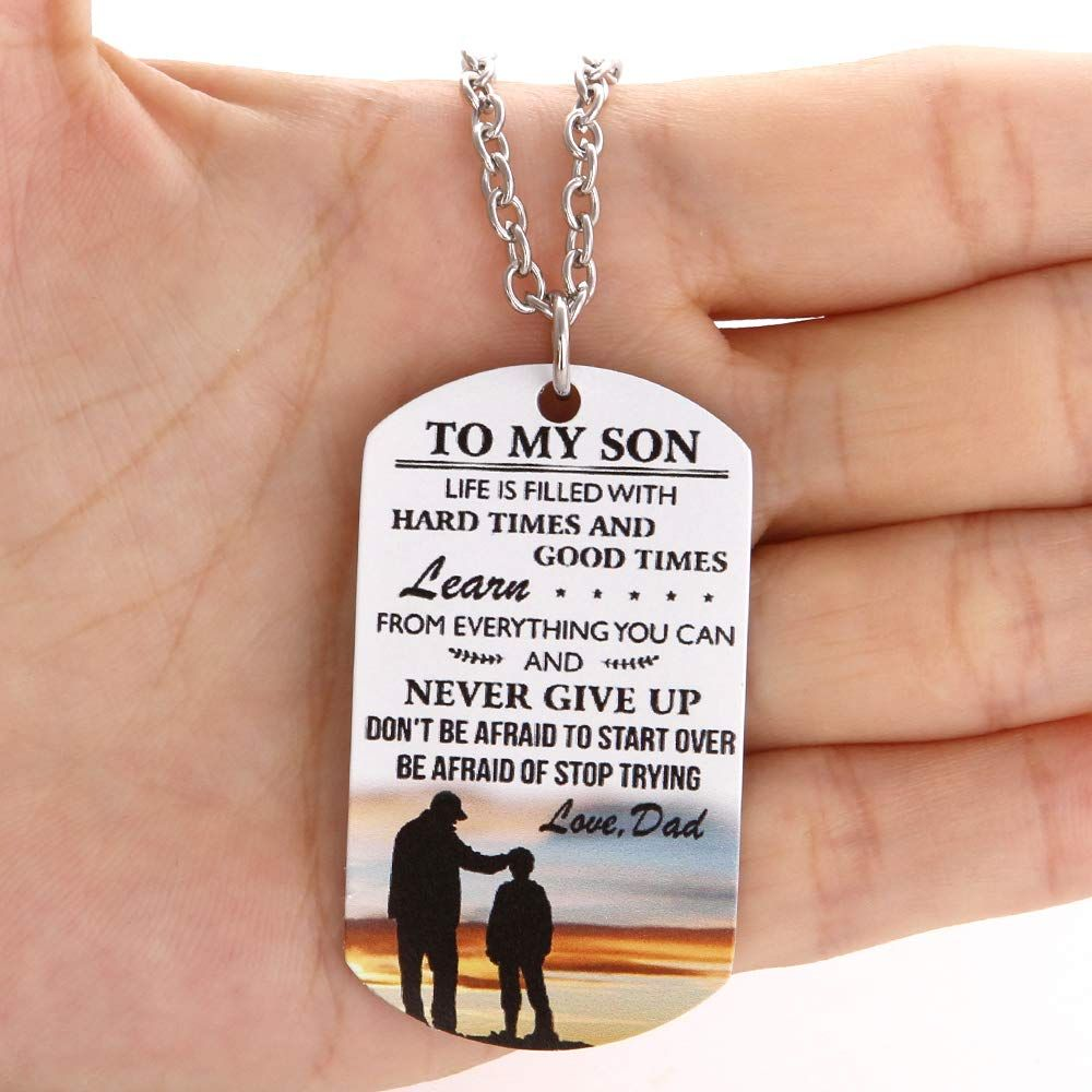 Fayerxl To My Son Gift Ideas From Dad Mom Colorful Dog Tag
